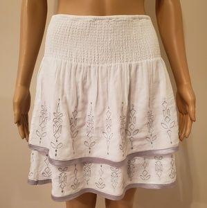 White House Black Market Wite & Silver Skirt